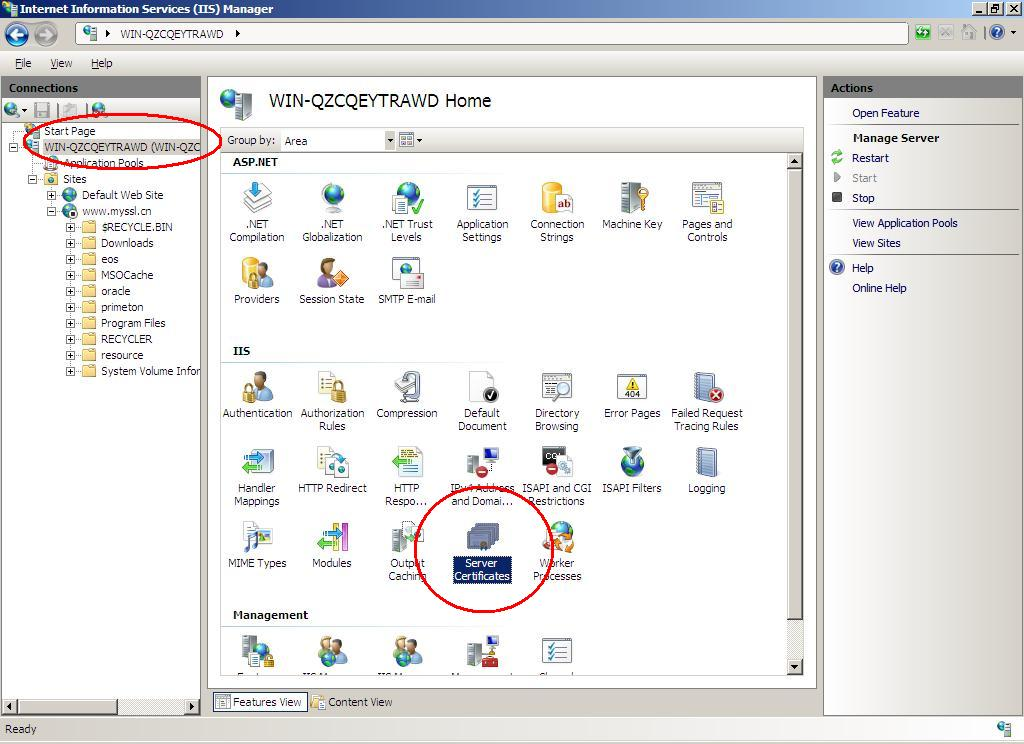 Windows Server 2008 IIS 7.0 - 生成CSR文件步骤图